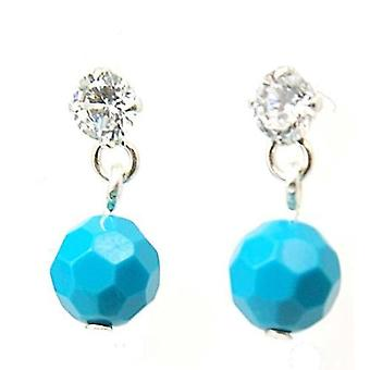 The Olivia Collection S. Silver Turquoise Ball Drop Earrings Cz Plus Pouch