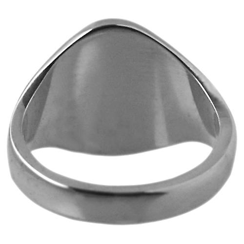 18ct White Gold 13x10mm solid plain oval Signet Ring Size T