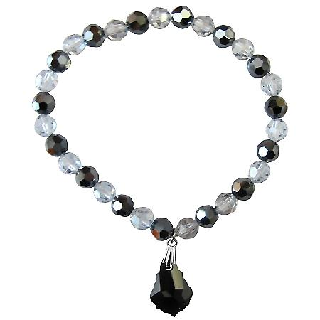 Black Baroque Bracelet Shadow & Jet Swarovski Crystals Gift Bracelet