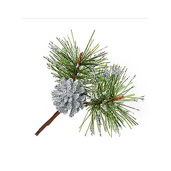 12 Silver Glittered Pine Fir Cone Pick for Christmas Floristry