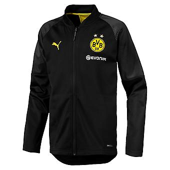 PUMA BVB Stadium Poly Jacket Jr with Sponsor Logo Kinder Jacke Schwarz
