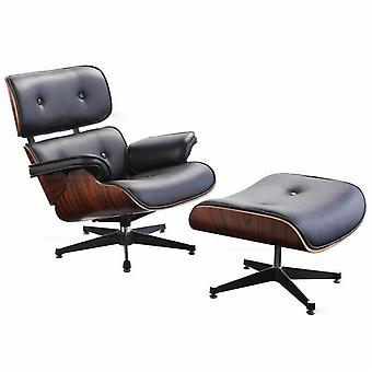 Lounge Chair - DARK ROSEWOOD - Black Leather