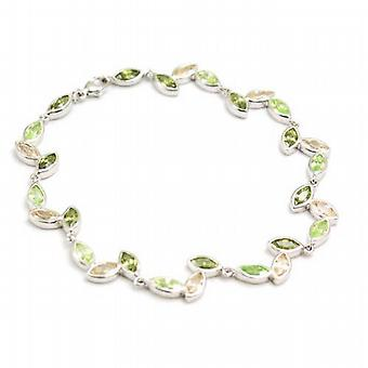 Jsuk Sterling Silver Leaf Design Coloured Cz Bracelet