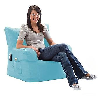Turquoise Water Resistant Large Bean Bag Relaxing Chair with Matching Footstool