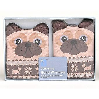 Fair Isle Animal Click & Heat Gel Hand Warmers (Pair): Pug