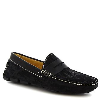 Leonardo Shoes Men's handmade slip-on driving loafers in blue suede leather