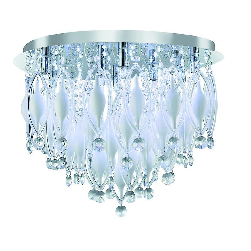 Spindle - Remote Controlled  9 Light Flush Ceiling, Chrome With Clear blanc Glass Deco
