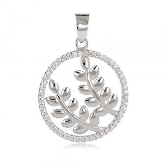 Silver hänge Rhodié dubbla blad Cirknas av Cubic zirconia