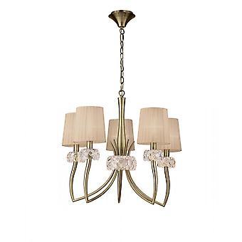 Mantra M4631AB Loewe Pendant 5 Light E14, Antique Brass With Soft Bronze Shades