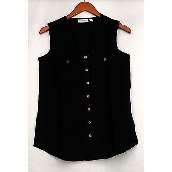 Susan Graver Top Leinen Mischung ärmellose Knopf vorne Shirt schwarz A265837