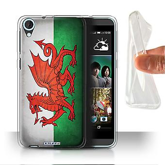 STUFF4 Gel/TPU sak/Cover for HTC Desire 820s dobbelt/Wales/walisisk/flagg