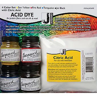 Jacquard Acid Dye 4 Color Set with Citric Acid Yellow, Turquoise, Red And Black Jac600s