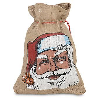 Small Hessian Drawstring Father Christmas Sack Gift Bag