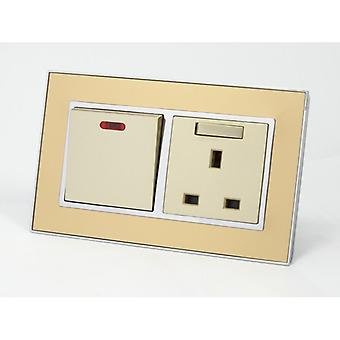 I LumoS AS Luxury Gold Mirror Glass Double 45A Switch with Switched 13A UK Socket