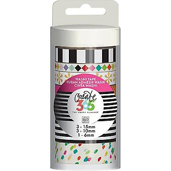 Create 365 Washi Tape 7/Pkg-Bright WTT-14