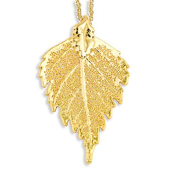 24k Gold Dipped Birch Leaf With Gold-plated Chain Necklace - 3.3 Grams - 20 Inch
