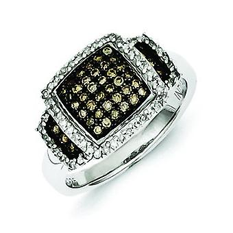 Sterling Silver Champagne Diamond Square Ring - Ring Size: 6 to 8