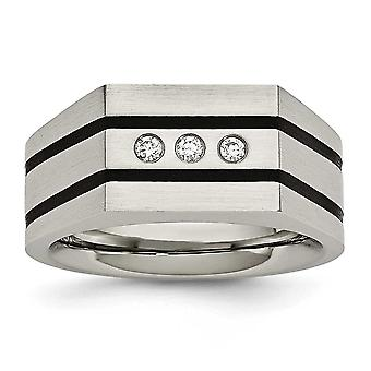 Stainless Steel Brushed Black Ip-plated Cubic Zirconias Ring - Ring Size: 9 to 12