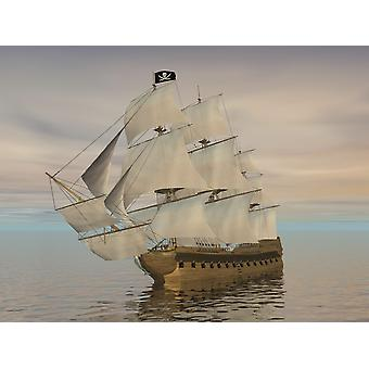 Pirate ship with black Jolly Roger flag sailing the ocean Poster Print
