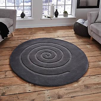 Spiral Circular Wool Rugs In Grey
