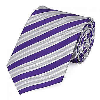Fine tie by Fabio Farini striped in purple-silver-white