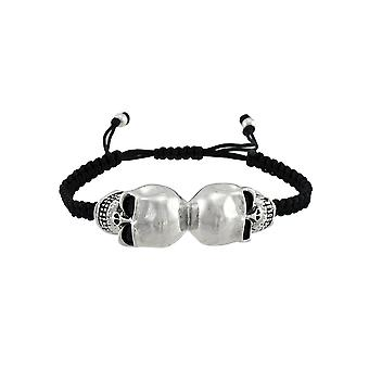 Chrome Mirrored Skulls Black Cord Bracelet
