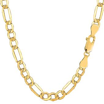 10k Yellow Gold Hollow Figaro Bracelet Chain, 5.4mm, 8.5