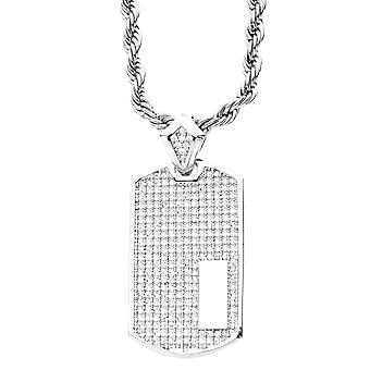 Iced out bling micro pave pendant - DOG TAG silver