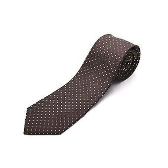 Luciano Barbera uomo sottile seta collo cravatta pois marrone oro