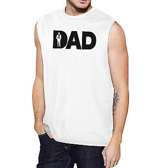Dad Business Mens White Working Dad Muscle Tank Top Witty Dad Gifts
