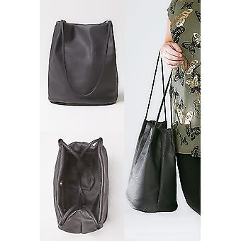 Black PU Leather Look Bucket Bag With Double Handles