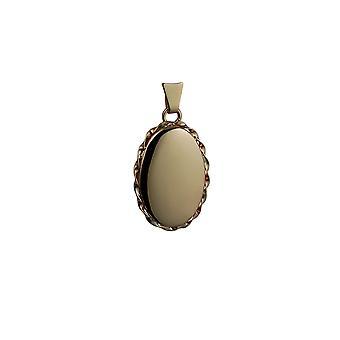 9ct Złota 23x16mm owalne zwykły Skręcony przewód krawędzi medalion