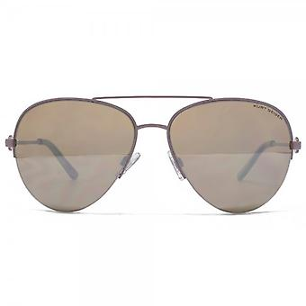 Kurt Geiger Grace Semi Rimless Pilot Sunglasses In Taupe Silver Mirror