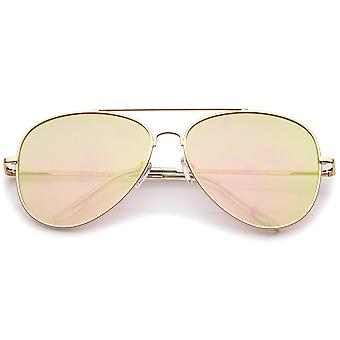 Large Metal Frame Colored Mirror Flat Lens Aviator Sunglasses 60mm