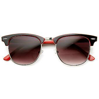 Tofarvet farverige klassiske halv ramme Horn kantede solbriller