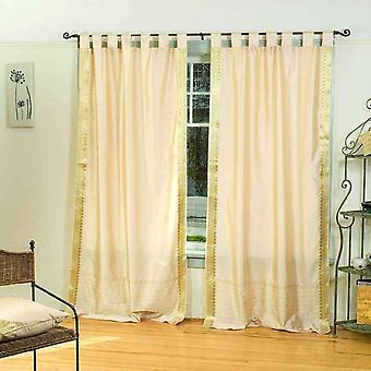 Golden  Tab Top  Sheer Sari Curtain / Drape / Panel  - Pair