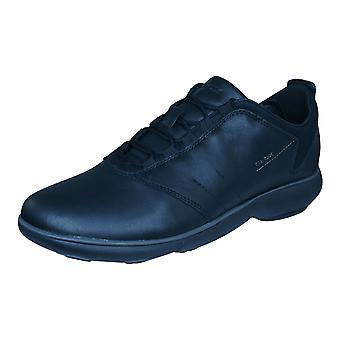 Geox U Nebula A Mens Leather Trainers / Shoes - Black