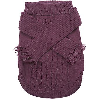 Dog Scarf Sweater-Plum Small 651954