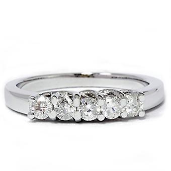 1 / 2ct 14 K Diamant Hochzeit Guard Ring Weissgold neu