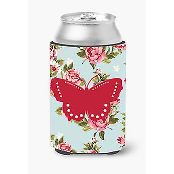 Butterfly Shabby Chic Blue Roses Can or Bottle Beverage Insulator Hugger BB1033