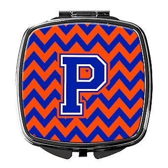 Carolines Treasures  CJ1044-PSCM Letter P Chevron Orange and Blue Compact Mirror