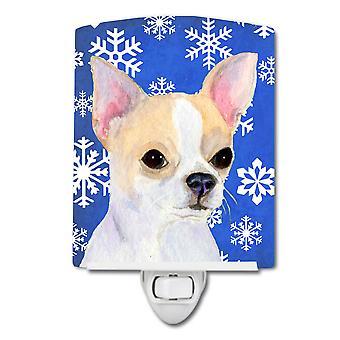 Chihuahua Winter Snowflakes Holiday Ceramic Night Light