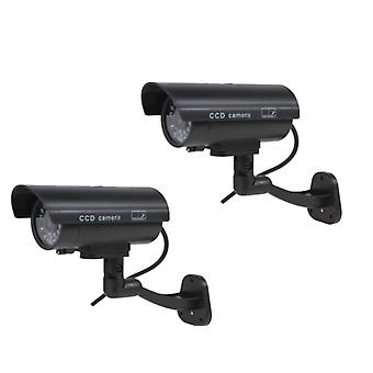 Kabalo 2 x realistische Fake Dummy CCTV Security Camera knippert rood LED Indoor Outdoor zwart
