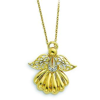 Sterling Silver Gold-Flashed Cubic Zirconia Angel Necklace - 18 Inch