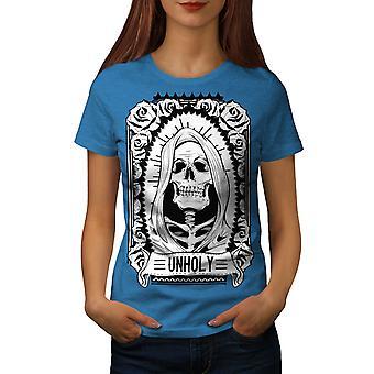 Unholy Rose Death Skull Women Royal BlueT-shirt | Wellcoda