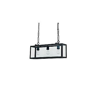 Ideal Lux - Igor Black Three Light Pendant With Clear Glass Plates Idl092881