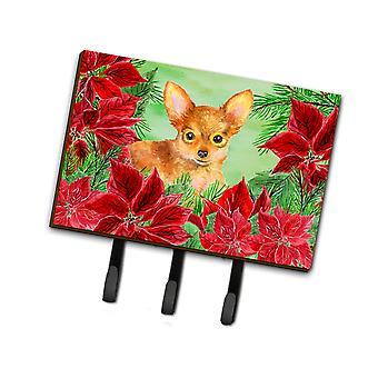 Carolines tesoros CK1369TH68 Toy Terrier Poinsettas Leash o llavero