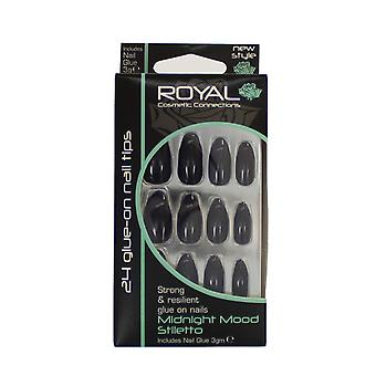 Royal 24 Glue-On Strong & Resilient Nail Tips-Midnight Mood Stiletto