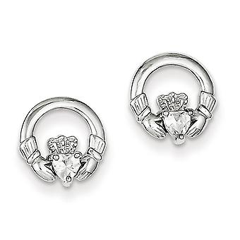 925 Sterling Silver White Synthetic Cubic Zirconia Simple Claddagh Stud Earrings