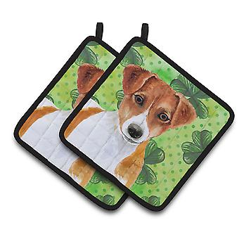 Jack Russell Terrier St Patrick's Pair of Pot Holders